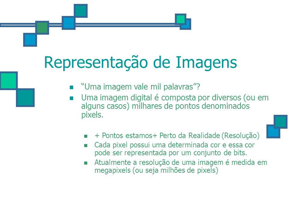 Representação de Imagens Uma imagem vale mil palavras? Uma imagem digital é composta por diversos (ou em alguns casos) milhares de pontos denominados