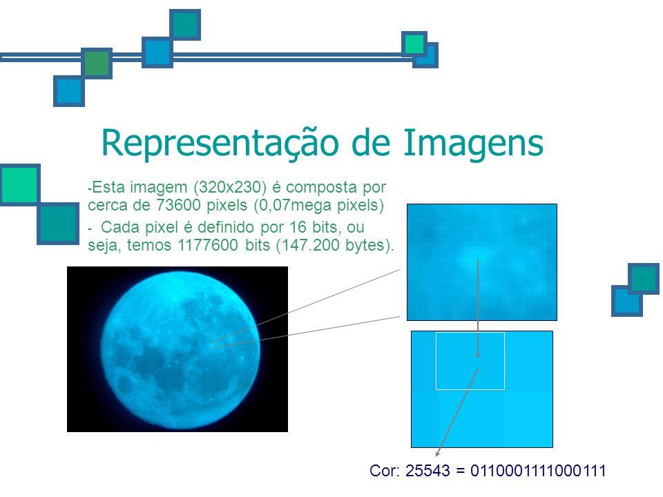 Representação de Imagens Cor: 25543 = 0110001111000111 - Esta imagem (320x230) é composta por cerca de 73600 pixels (0,07mega pixels) - Cada pixel é d