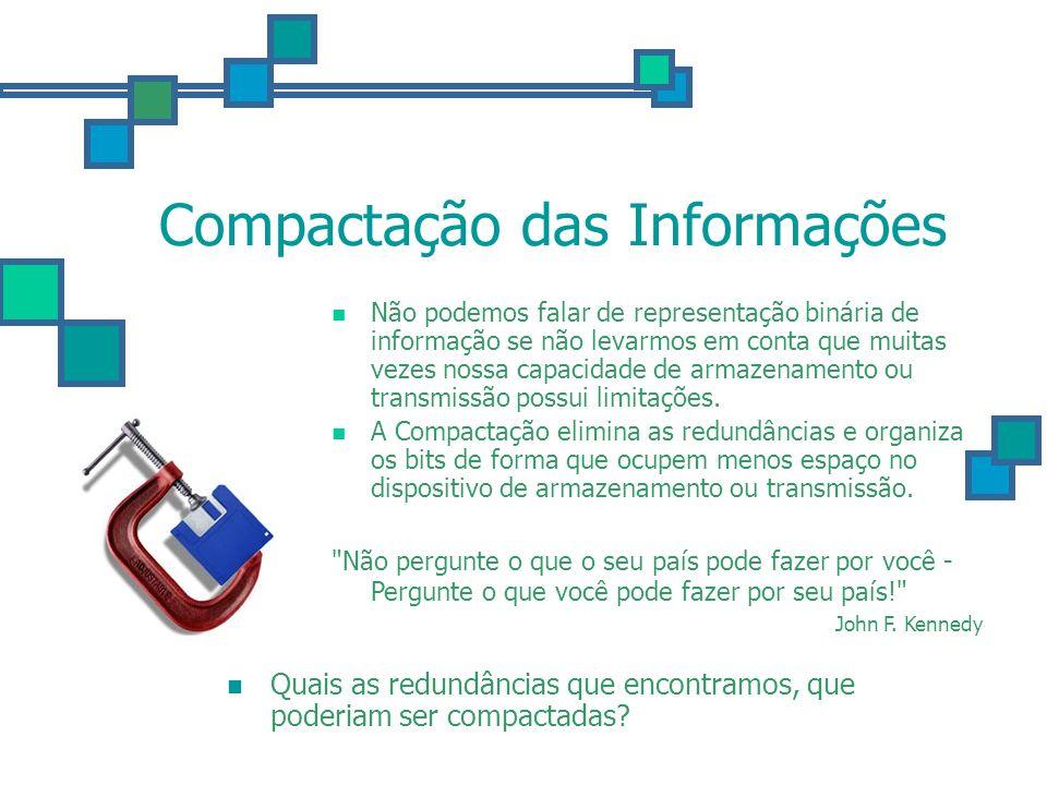 Compactação das Informações Não podemos falar de representação binária de informação se não levarmos em conta que muitas vezes nossa capacidade de arm