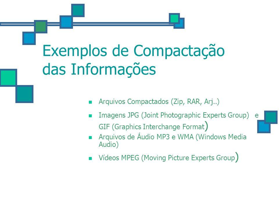 Exemplos de Compactação das Informações Arquivos Compactados (Zip, RAR, Arj..) Imagens JPG (Joint Photographic Experts Group) e GIF (Graphics Intercha