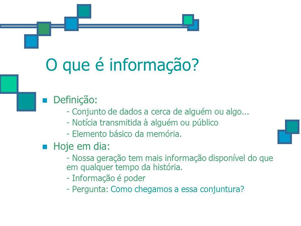 O que é informação? Definição: - Conjunto de dados a cerca de alguém ou algo... - Notícia transmitida à alguém ou público - Elemento básico da memória