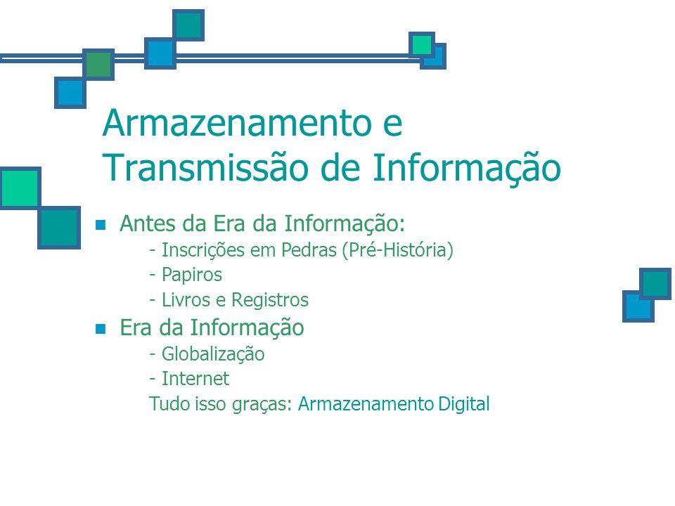 Armazenamento e Transmissão de Informação Antes da Era da Informação: - Inscrições em Pedras (Pré-História) - Papiros - Livros e Registros Era da Info