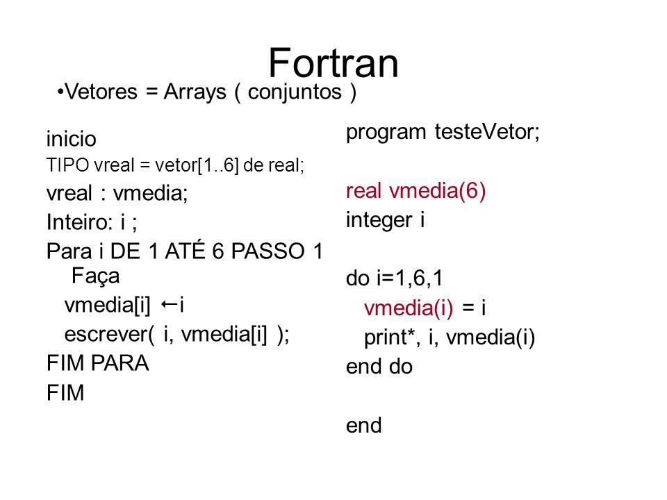 Fortran program testeVetor; real vmedia(6) integer i do i=1,6,1 vmedia(i) = i print*, i, vmedia(i) end do end Vetores = Arrays ( conjuntos ) inicio TI