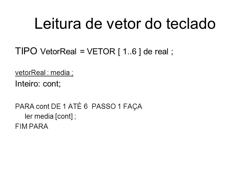 Escrita de vetor do teclado TIPO VetorReal = VETOR [ 1..6 ] de real ; vetorReal : media ; Inteiro: cont; PARA cont DE 1 ATÉ 6 PASSO 1 FAÇA escrever media [cont] ; FIM PARA