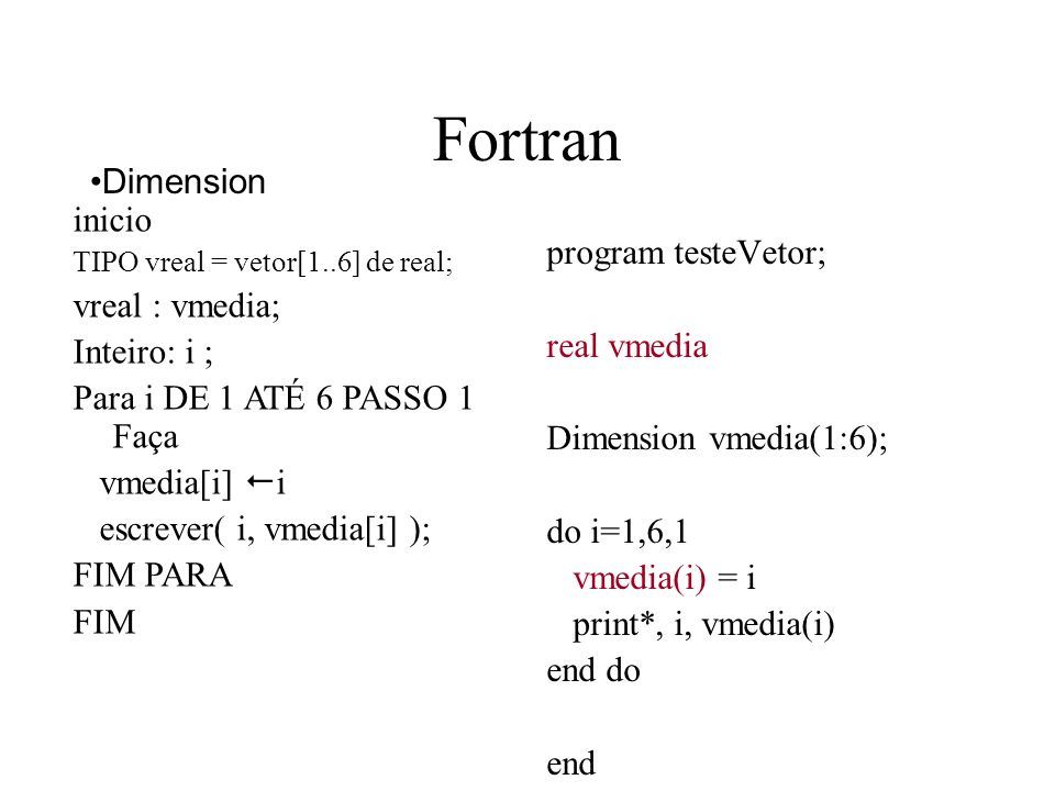 Fortran program testeVetor; real vmedia Dimension vmedia(1:6); do i=1,6,1 vmedia(i) = i print*, i, vmedia(i) end do end Dimension inicio TIPO vreal =