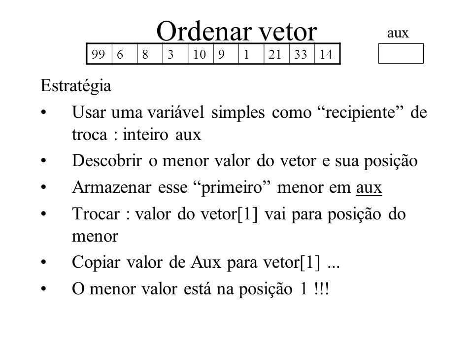 Ordenar vetor Estratégia Usar uma variável simples como recipiente de troca : inteiro aux Descobrir o menor valor do vetor e sua posição Armazenar ess
