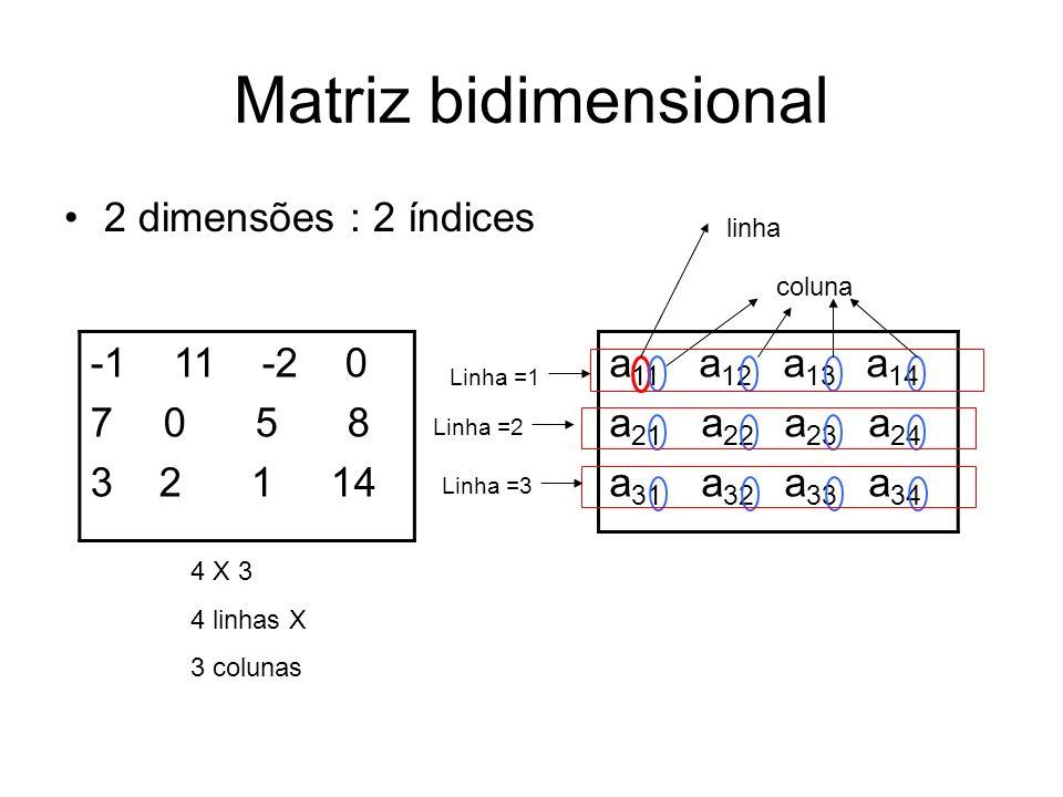 Matriz bidimensional 2 dimensões : 2 índices -1 11 -2 0 7 0 5 8 3 2 1 14 4 X 3 4 linhas X 3 colunas a 11 a 12 a 13 a 14 a 21 a 22 a 23 a 24 a 31 a 32