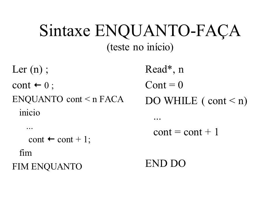 Sintaxe ENQUANTO-FAÇA (teste no início) Ler (n) ; cont 0 ; ENQUANTO cont < n FACA inicio...