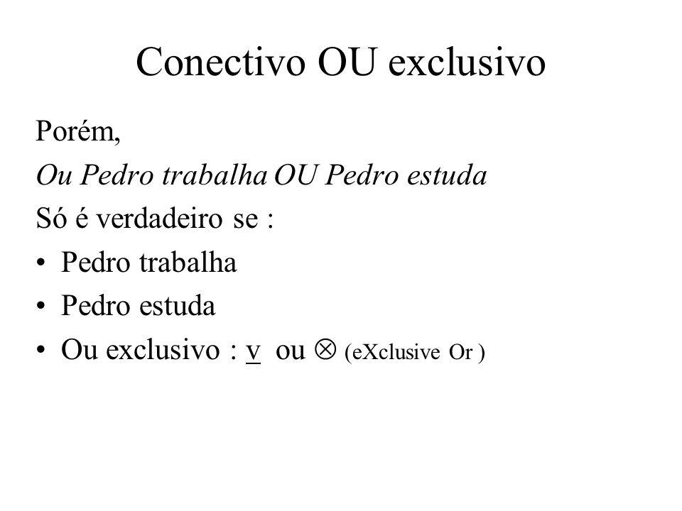 Conectivo OU exclusivo Porém, Ou Pedro trabalha OU Pedro estuda Só é verdadeiro se : Pedro trabalha Pedro estuda Ou exclusivo : v ou (eXclusive Or )