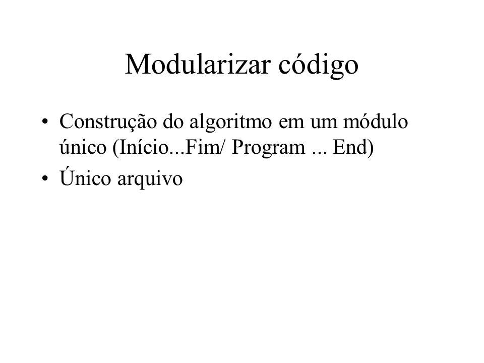 Modularizar código Vantagens Reuso do código algoritmo principal mais conciso ( Limpo) Problemas muito longos –Problemas com legibilidade