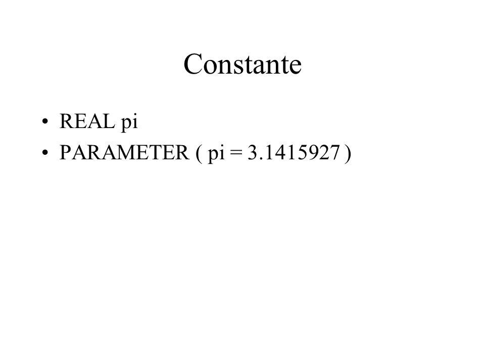 Constante REAL pi PARAMETER ( pi = 3.1415927 )