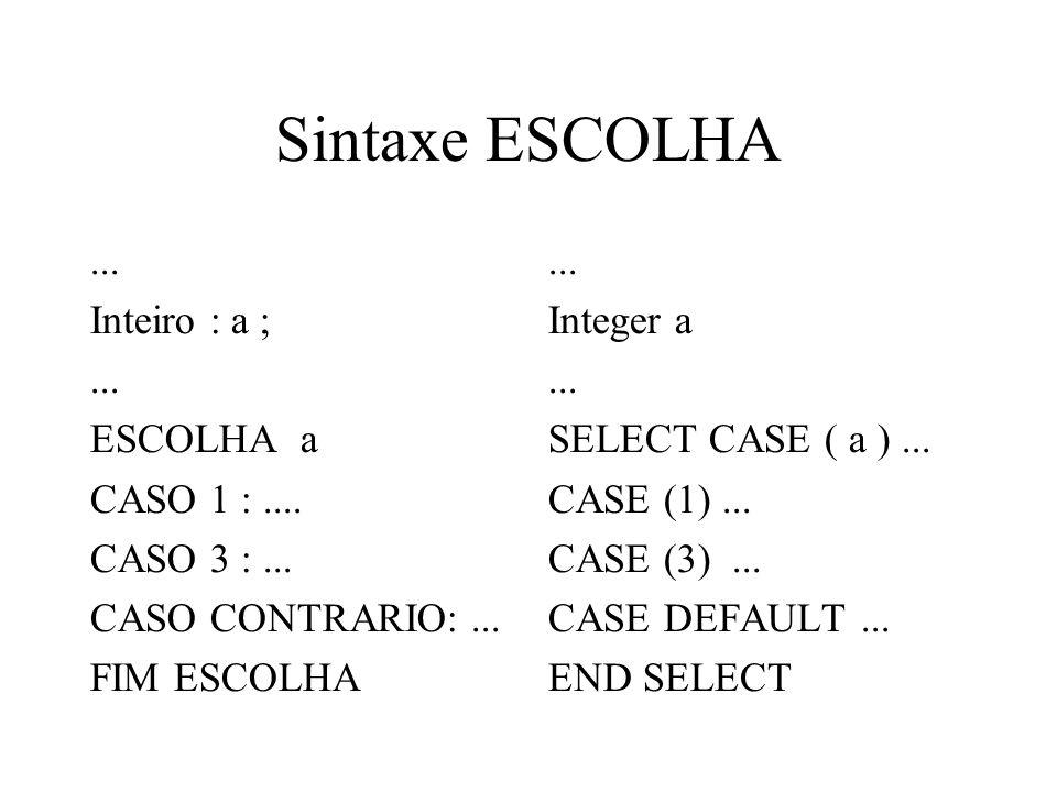 Sintaxe ESCOLHA... Inteiro : a ;... ESCOLHA a CASO 1 :.... CASO 3 :... CASO CONTRARIO:... FIM ESCOLHA... Integer a... SELECT CASE ( a )... CASE (1)...