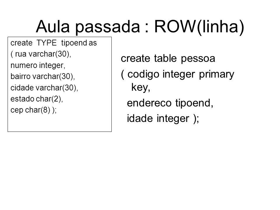 Aula passada : ROW(linha) create TYPE tipoend as ( rua varchar(30), numero integer, bairro varchar(30), cidade varchar(30), estado char(2), cep char(8) ); create table pessoa ( codigo integer primary key, endereco tipoend, idade integer );