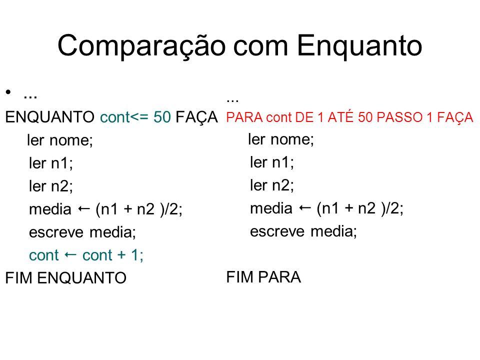 Comparação com Enquanto... ENQUANTO cont<= 50 FAÇA ler nome; ler n1; ler n2; media (n1 + n2 )/2; escreve media; cont cont + 1; FIM ENQUANTO... PARA co