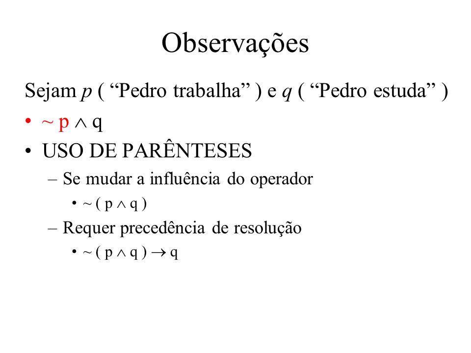Observações Sejam p ( Pedro trabalha ) e q ( Pedro estuda ) ~ p q USO DE PARÊNTESES –Se mudar a influência do operador ~ ( p q ) –Requer precedência de resolução ~ ( p q ) q