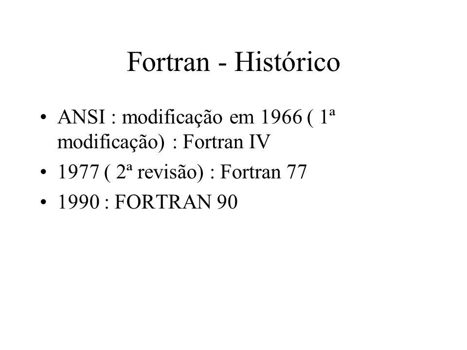 Fortran - Histórico ANSI : modificação em 1966 ( 1ª modificação) : Fortran IV 1977 ( 2ª revisão) : Fortran 77 1990 : FORTRAN 90