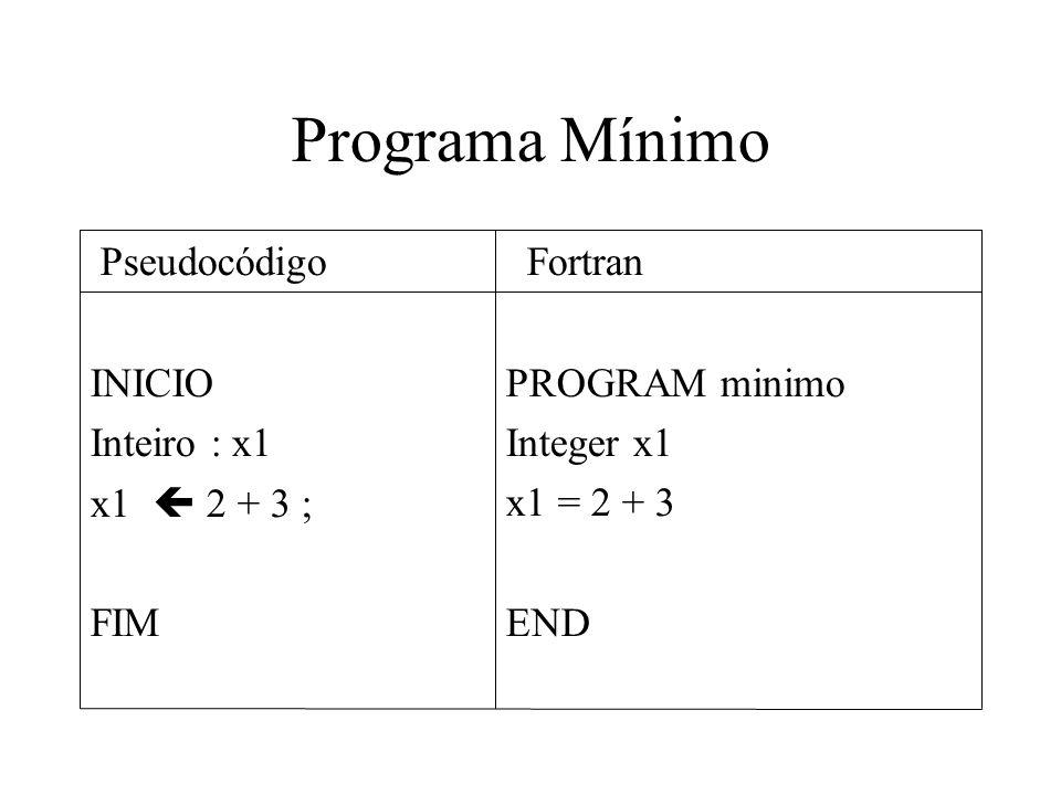 Programa Mínimo PROGRAM minimo Integer x1 x1 = 2 + 3 END INICIO Inteiro : x1 x1 2 + 3 ; FIM Pseudocódigo Fortran
