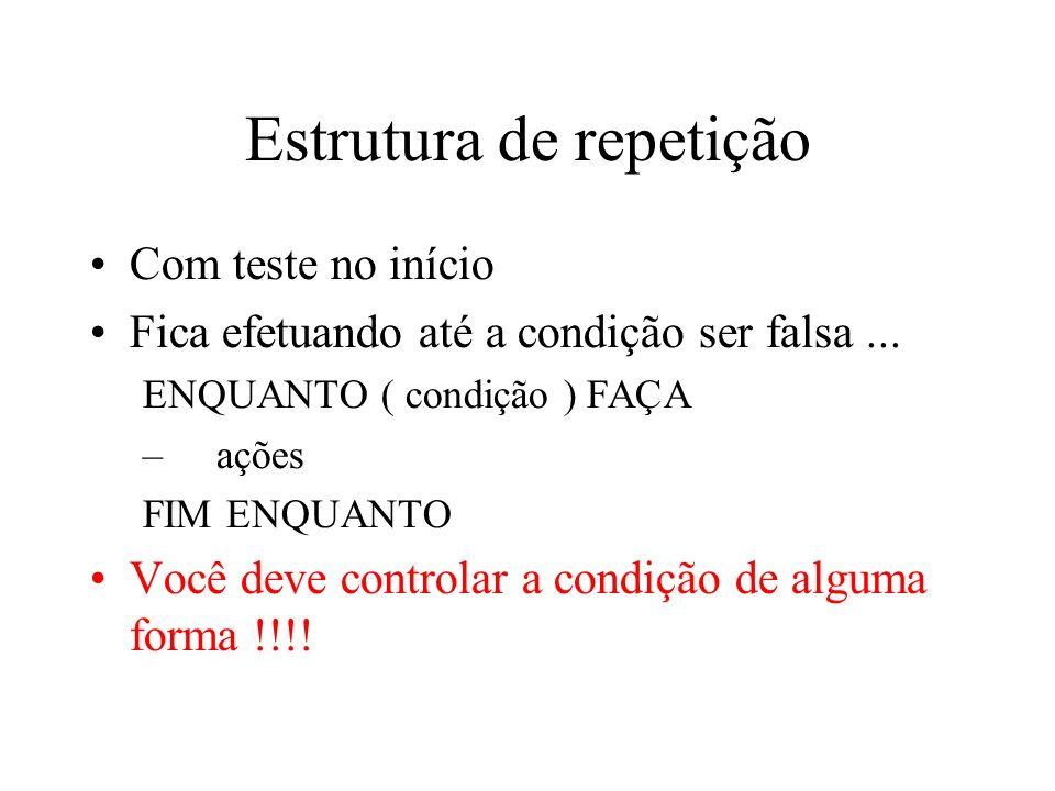 Estrutura de repetição Com teste no início Fica efetuando até a condição ser falsa...