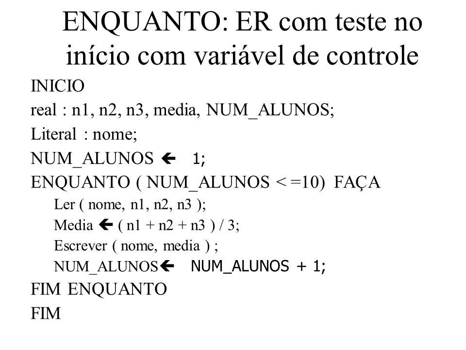 ENQUANTO: ER com teste no início com variável de controle INICIO real : n1, n2, n3, media, NUM_ALUNOS; Literal : nome; NUM_ALUNOS 1; ENQUANTO ( NUM_ALUNOS < =10) FAÇA Ler ( nome, n1, n2, n3 ); Media ( n1 + n2 + n3 ) / 3; Escrever ( nome, media ) ; NUM_ALUNOS NUM_ALUNOS + 1; FIM ENQUANTO FIM