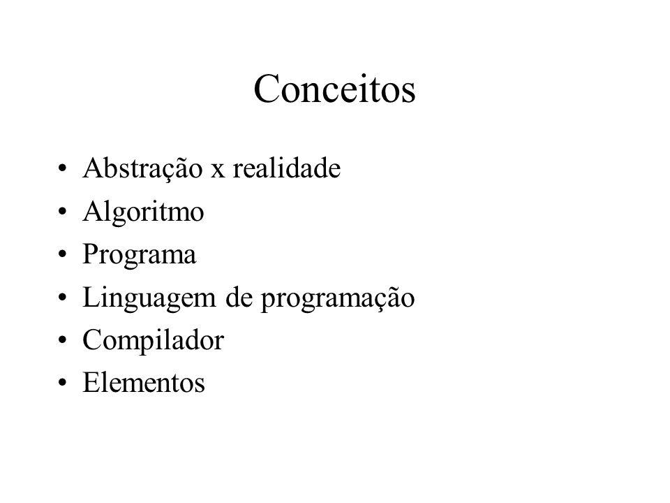 Conceitos Abstração x realidade Algoritmo Programa Linguagem de programação Compilador Elementos