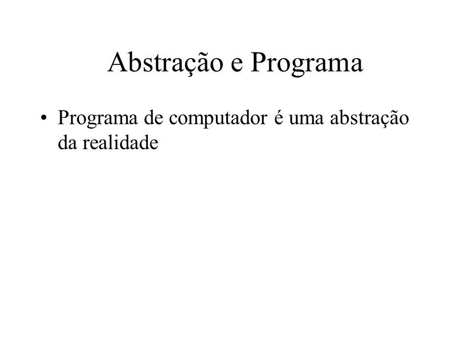 Abstração e Programa Programa de computador é uma abstração da realidade