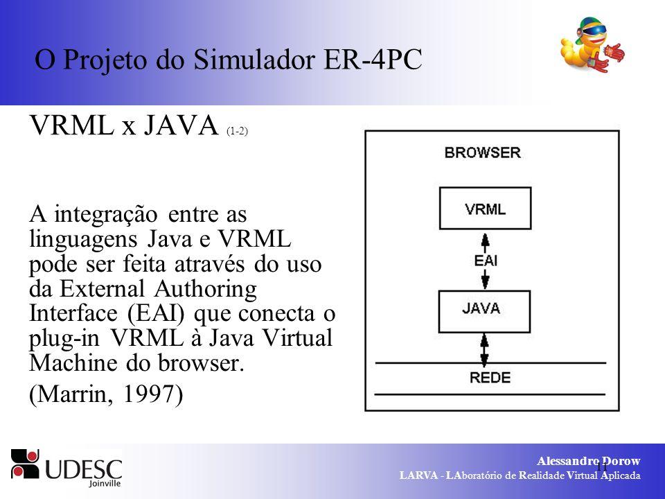 Alessandro Dorow LARVA - LAboratório de Realidade Virtual Aplicada 11 O Projeto do Simulador ER-4PC VRML x JAVA (1-2) A integração entre as linguagens Java e VRML pode ser feita através do uso da External Authoring Interface (EAI) que conecta o plug-in VRML à Java Virtual Machine do browser.