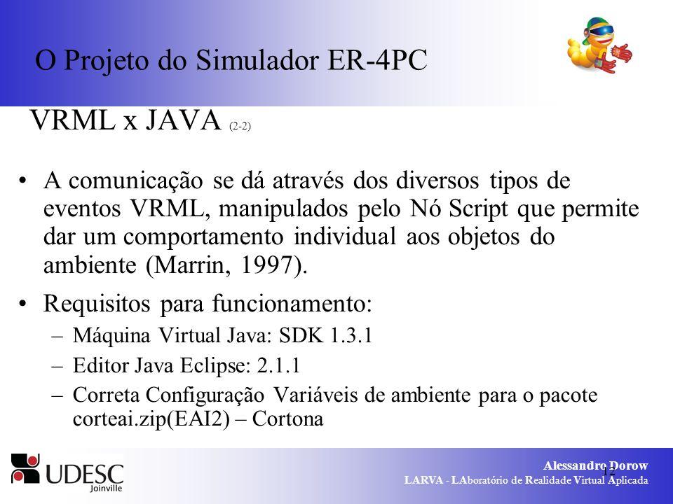 Alessandro Dorow LARVA - LAboratório de Realidade Virtual Aplicada 12 O Projeto do Simulador ER-4PC VRML x JAVA (2-2) A comunicação se dá através dos diversos tipos de eventos VRML, manipulados pelo Nó Script que permite dar um comportamento individual aos objetos do ambiente (Marrin, 1997).