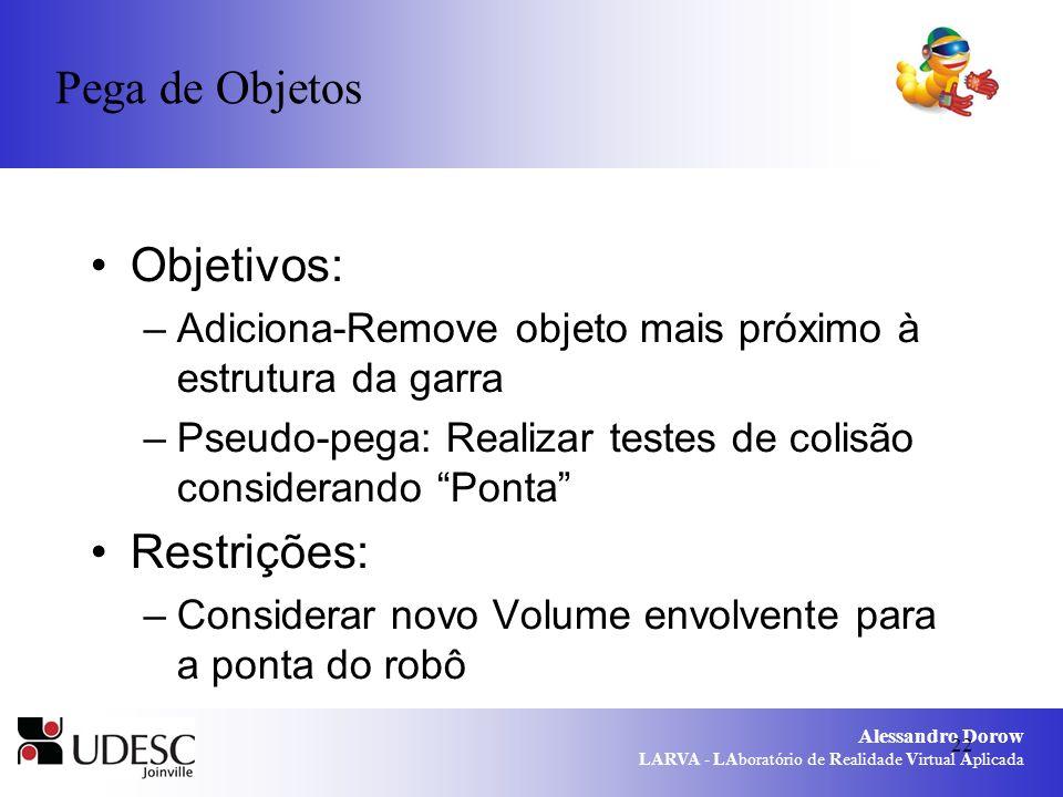 Alessandro Dorow LARVA - LAboratório de Realidade Virtual Aplicada 22 Objetivos: –Adiciona-Remove objeto mais próximo à estrutura da garra –Pseudo-peg