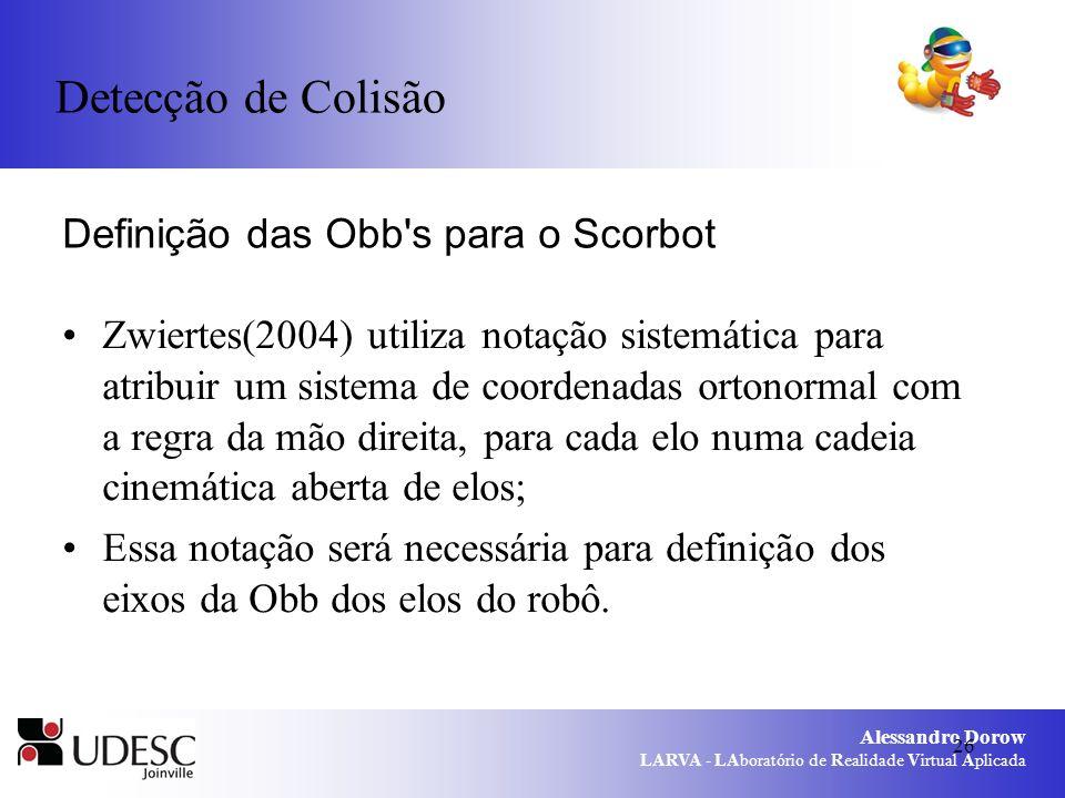 Alessandro Dorow LARVA - LAboratório de Realidade Virtual Aplicada 26 Definição das Obb's para o Scorbot Zwiertes(2004) utiliza notação sistemática pa