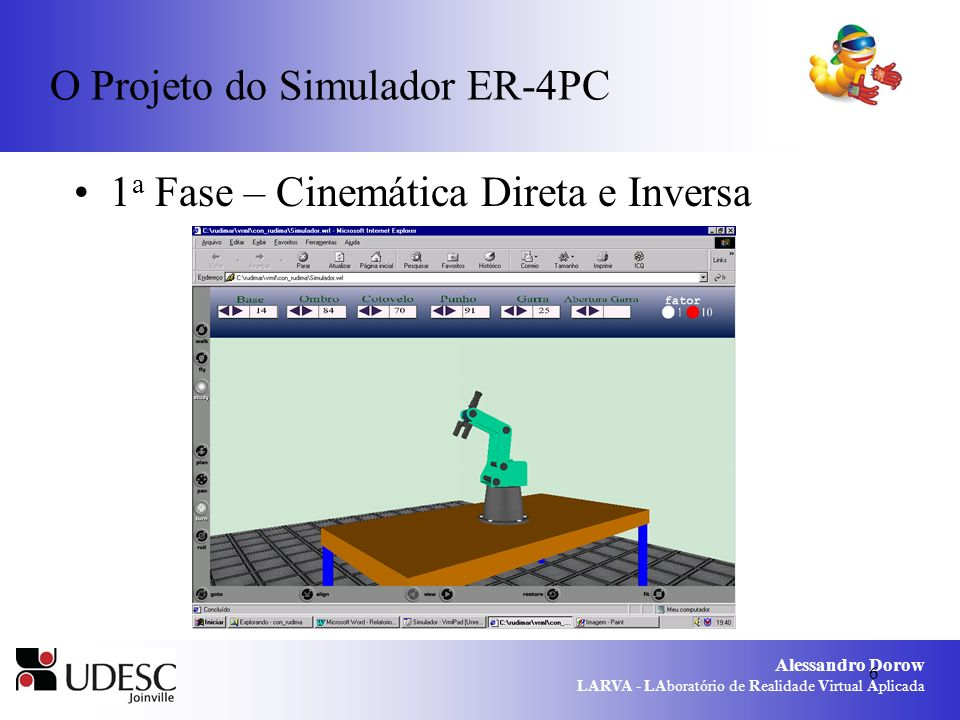 Alessandro Dorow LARVA - LAboratório de Realidade Virtual Aplicada 7 O Projeto do Simulador ER-4PC 1 a Fase – Cinemática Direta e Inversa Fonte: Zwiertes, 2004.