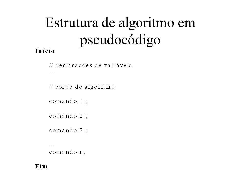 Estrutura de algoritmo em pseudocódigo