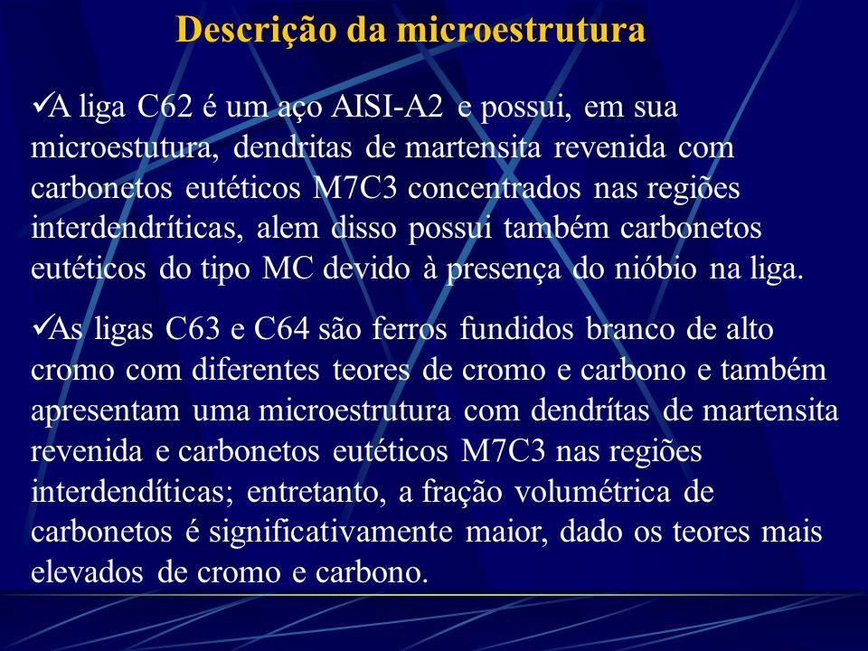 Descrição da microestrutura A liga C62 é um aço AISI-A2 e possui, em sua microestutura, dendritas de martensita revenida com carbonetos eutéticos M7C3