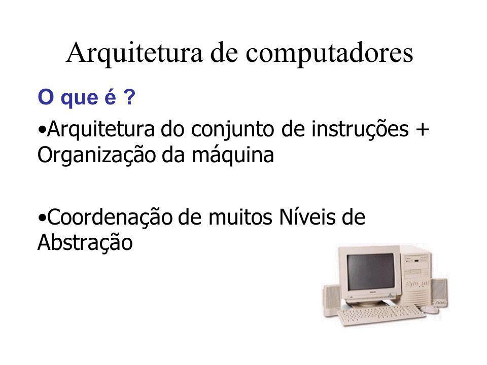 Arquitetura de computadores O que é ? Arquitetura do conjunto de instruções + Organização da máquina Coordenação de muitos Níveis de Abstração