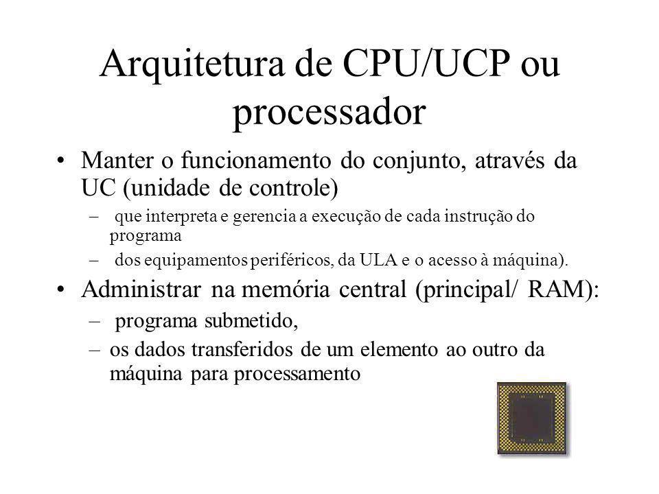 Arquitetura de CPU/UCP ou processador Manter o funcionamento do conjunto, através da UC (unidade de controle) – que interpreta e gerencia a execução d