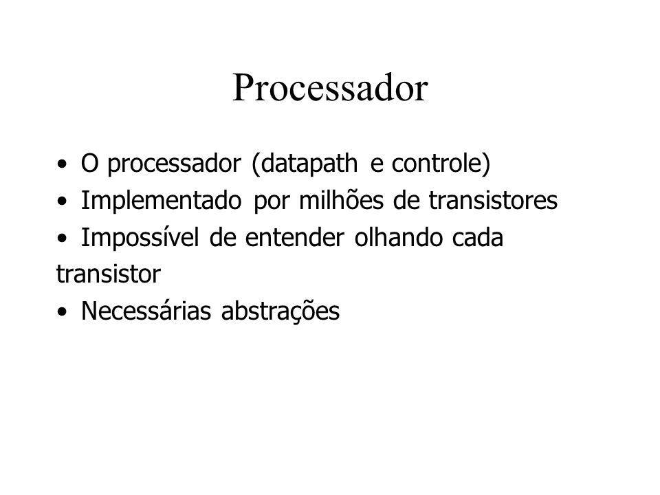 Processador O processador (datapath e controle) Implementado por milhões de transistores Impossível de entender olhando cada transistor Necessárias ab