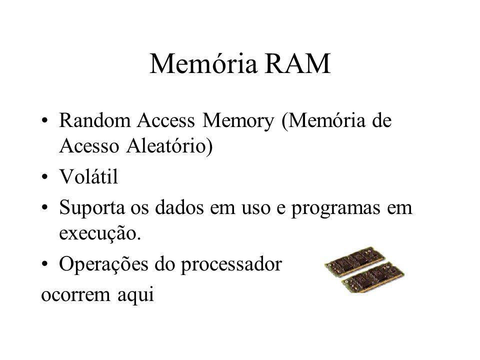Memória RAM Random Access Memory (Memória de Acesso Aleatório) Volátil Suporta os dados em uso e programas em execução. Operações do processador ocorr