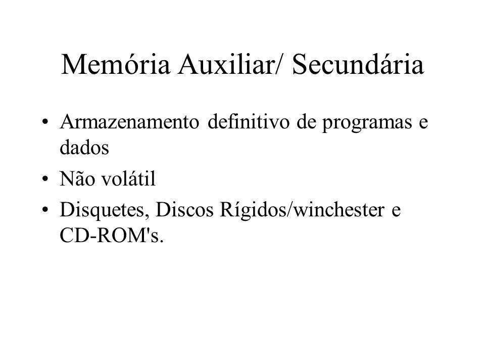 Memória Auxiliar/ Secundária Armazenamento definitivo de programas e dados Não volátil Disquetes, Discos Rígidos/winchester e CD-ROM's.