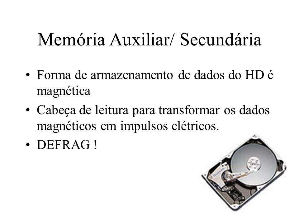 Memória Auxiliar/ Secundária Forma de armazenamento de dados do HD é magnética Cabeça de leitura para transformar os dados magnéticos em impulsos elét