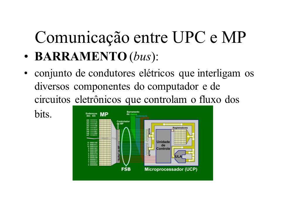 Comunicação entre UPC e MP BARRAMENTO (bus): conjunto de condutores elétricos que interligam os diversos componentes do computador e de circuitos elet
