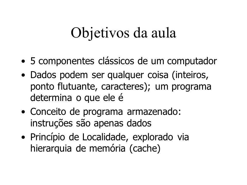 Objetivos da aula 5 componentes clássicos de um computador Dados podem ser qualquer coisa (inteiros, ponto flutuante, caracteres); um programa determi