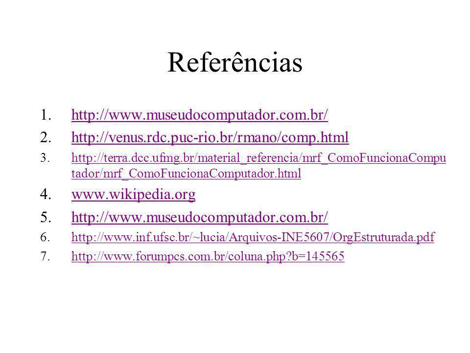 Referências 1.http://www.museudocomputador.com.br/http://www.museudocomputador.com.br/ 2.http://venus.rdc.puc-rio.br/rmano/comp.htmlhttp://venus.rdc.p