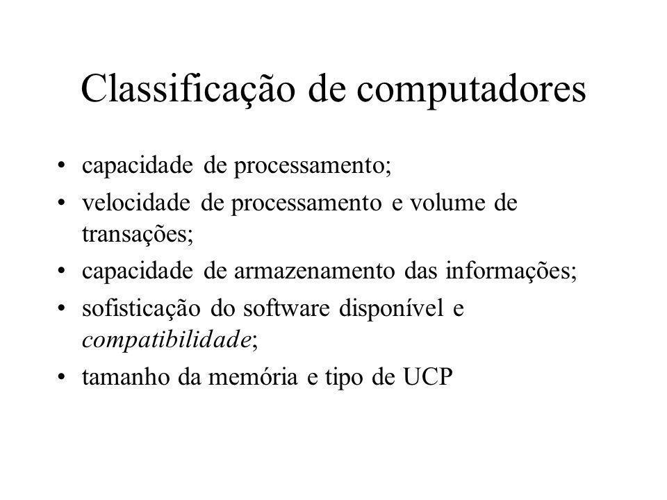 Classificação de computadores capacidade de processamento; velocidade de processamento e volume de transações; capacidade de armazenamento das informa