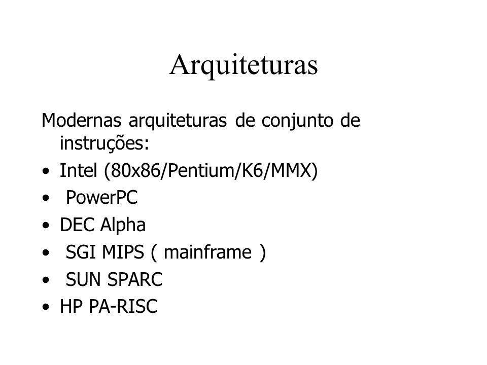 Arquiteturas Modernas arquiteturas de conjunto de instruções: Intel (80x86/Pentium/K6/MMX) PowerPC DEC Alpha SGI MIPS ( mainframe ) SUN SPARC HP PA-RI