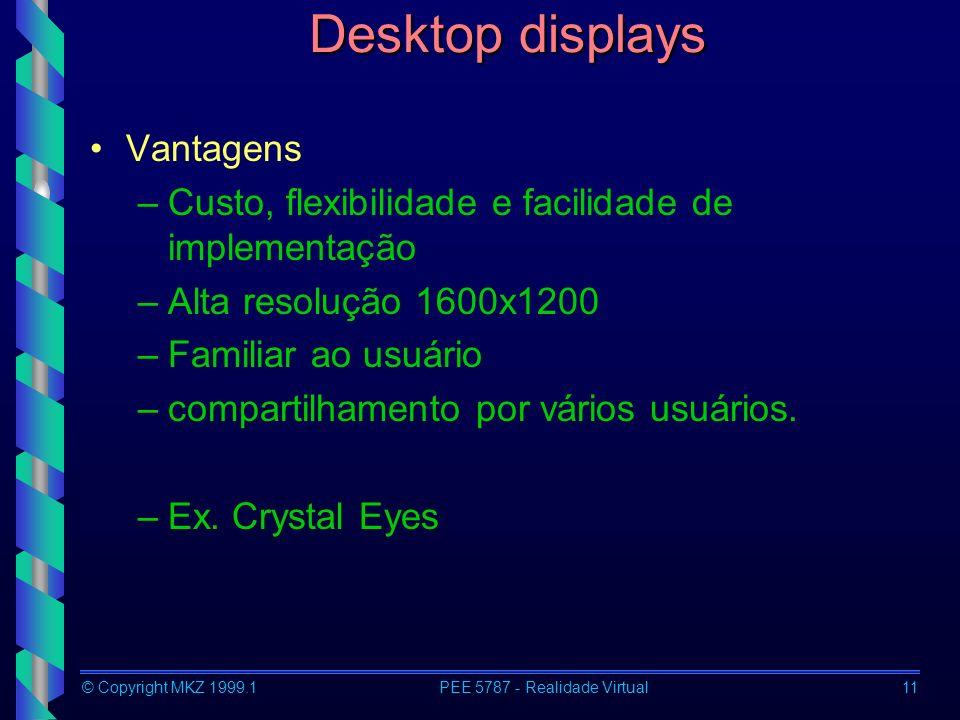 © Copyright MKZ 1999.1PEE 5787 - Realidade Virtual11 Desktop displays Vantagens –Custo, flexibilidade e facilidade de implementação –Alta resolução 1600x1200 –Familiar ao usuário –compartilhamento por vários usuários.