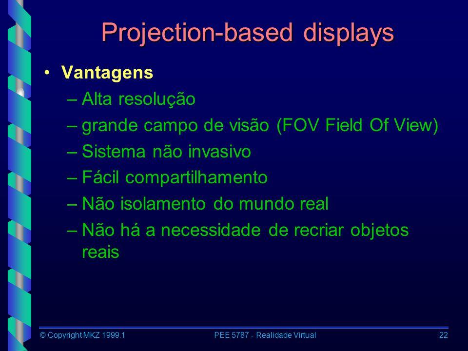 © Copyright MKZ 1999.1PEE 5787 - Realidade Virtual22 Projection-based displays Vantagens –Alta resolução –grande campo de visão (FOV Field Of View) –Sistema não invasivo –Fácil compartilhamento –Não isolamento do mundo real –Não há a necessidade de recriar objetos reais