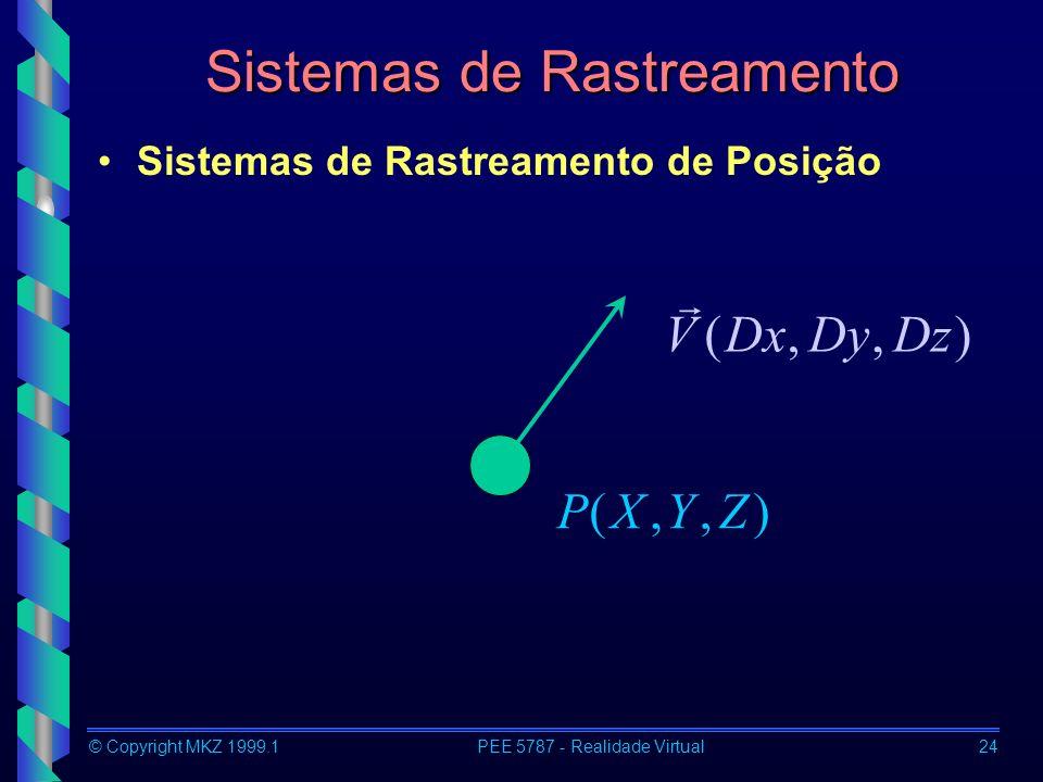© Copyright MKZ 1999.1PEE 5787 - Realidade Virtual24 Sistemas de Rastreamento Sistemas de Rastreamento de Posição ),,(ZYXP ),,(DzDyDxV