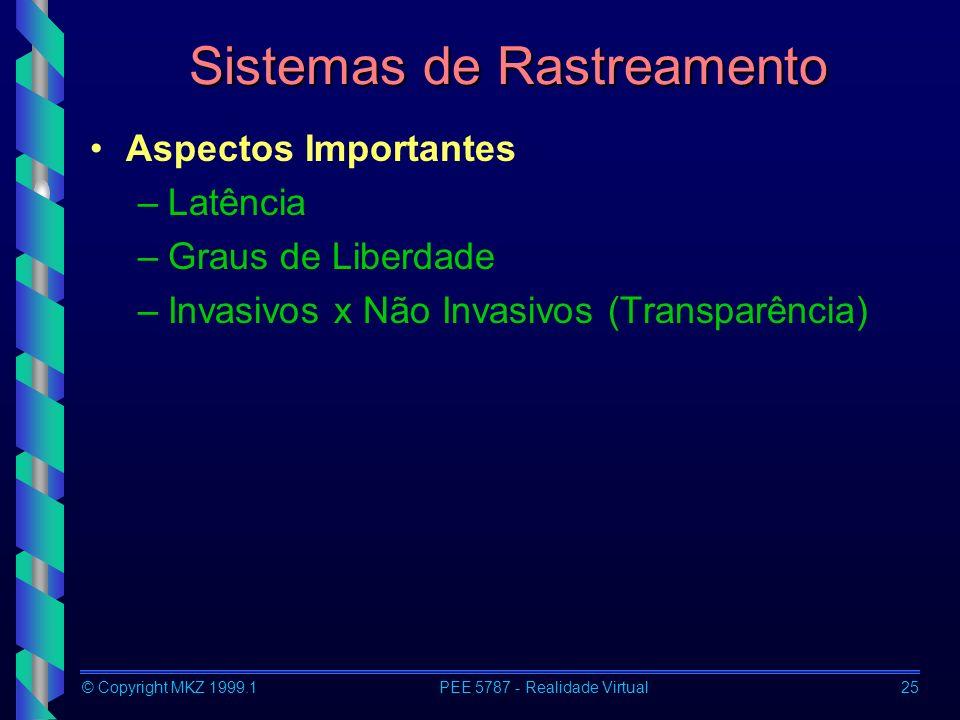 © Copyright MKZ 1999.1PEE 5787 - Realidade Virtual25 Sistemas de Rastreamento Aspectos Importantes –Latência –Graus de Liberdade –Invasivos x Não Inva