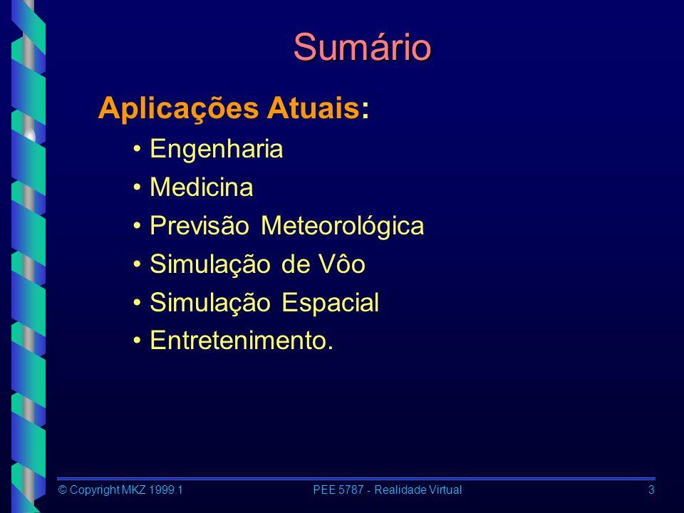 © Copyright MKZ 1999.1PEE 5787 - Realidade Virtual3 Sumário Aplicações Atuais: Engenharia Medicina Previsão Meteorológica Simulação de Vôo Simulação E