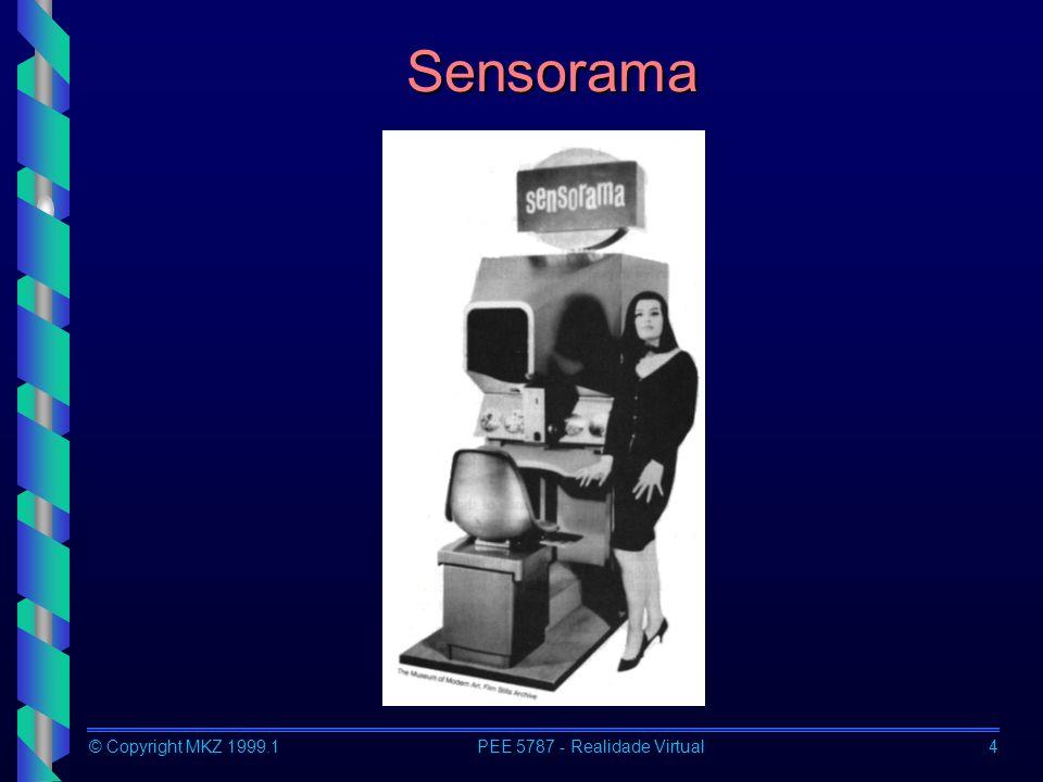 © Copyright MKZ 1999.1PEE 5787 - Realidade Virtual5 Conceitos O Termo Realidade Virtual (VR) Refere-se ao uso de dispositivos de apresentação 3D e o uso de dispositivos de interação para a exploração em tempo real de ambientes gerados por computador.