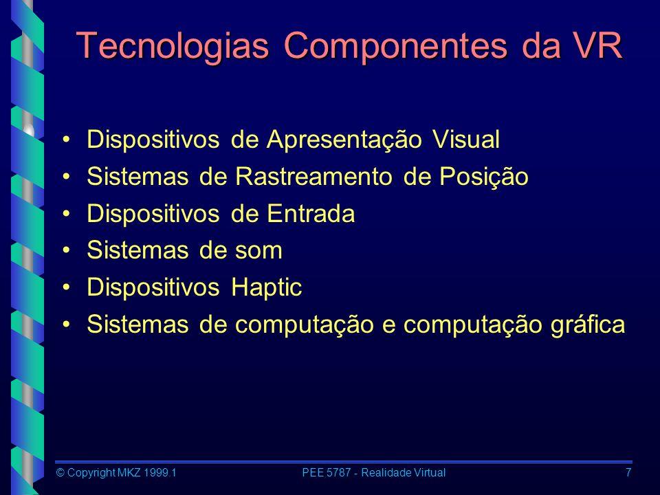 © Copyright MKZ 1999.1PEE 5787 - Realidade Virtual28 Dispositivos de Entrada Tipos de Experiências em RV –Passivas –Exploratórias –Interativas Dispositivos –Data Glove (luva de dados) –Pinch Gloves (luva de contato) –Joysticks 3D –Reconhecimento de Voz